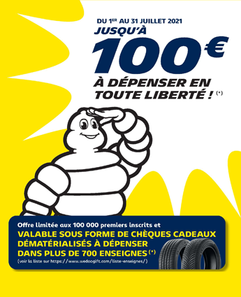 Remise pneus Michelin jusqu'à 100€ remboursés
