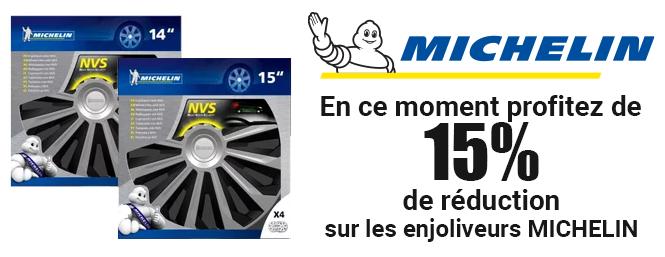 Offre -15% sur les enjoliveurs Michelin - Autobacs
